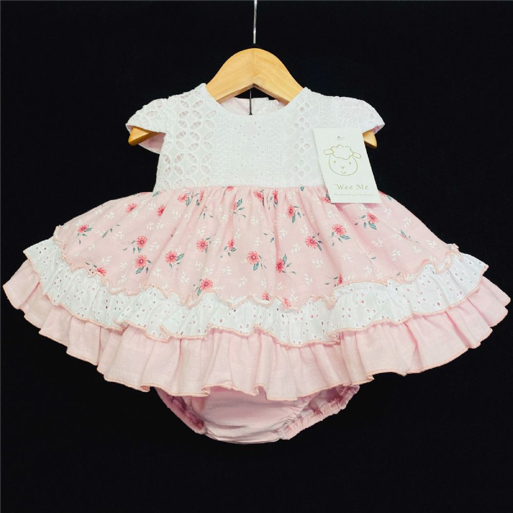 * Baby Girl Spanish Pink Floral Puff Dress Lace Trim with Pants